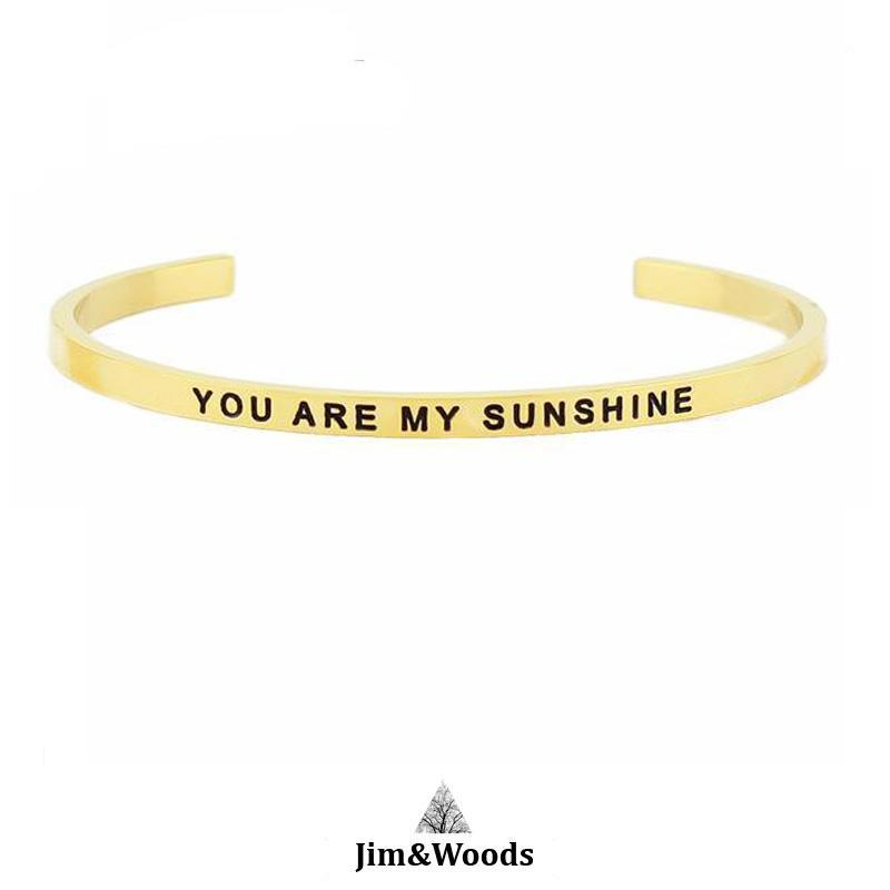 Bracelet Jonc Mantra DORE YOU ARE MY SUNSHINE