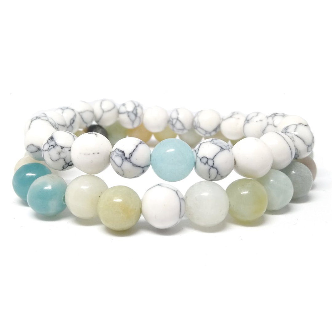 Bracelet distance pour couple en Amazonite