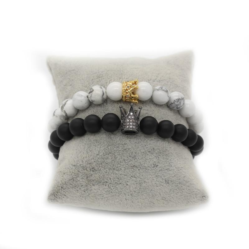 Bracelet distance King & Queen noir et blanc