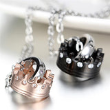Collier couple King Couronne Noir et Rose