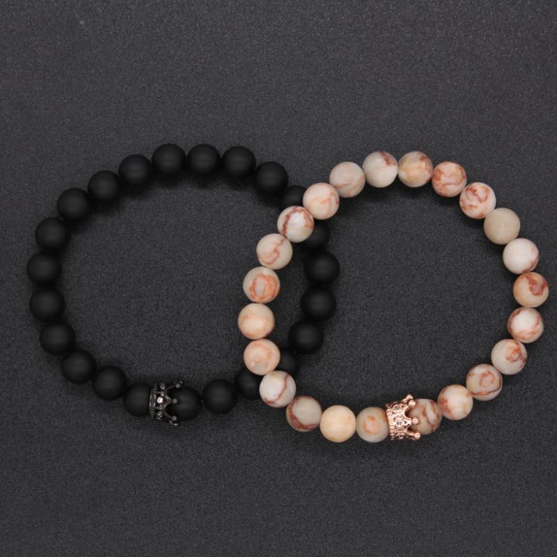 Bracelet distance couple Luxury Queen noir et rose
