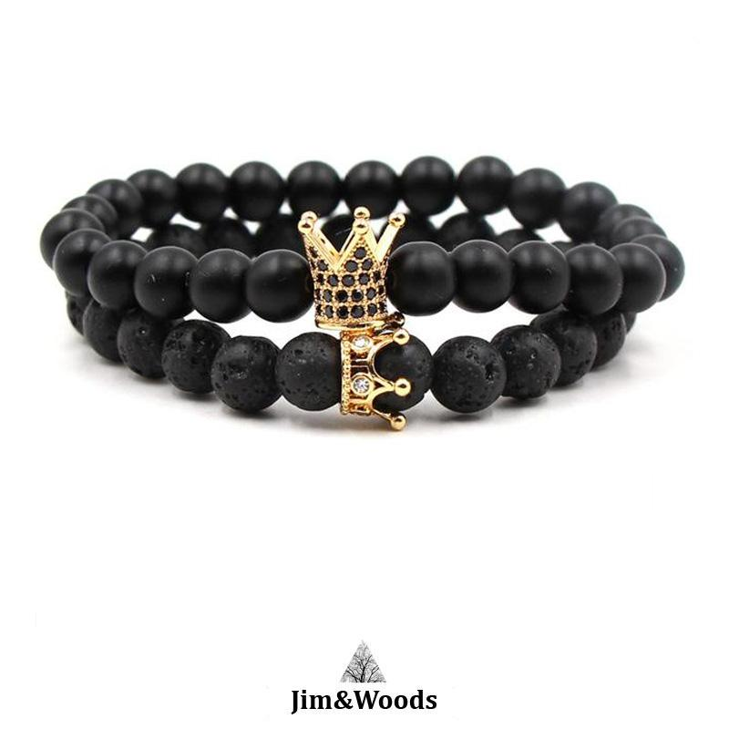 Bracelet Distance Royal Or Noir En Pierre de Lave