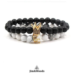 Bracelet Distance Royal Or Noir et Blanc