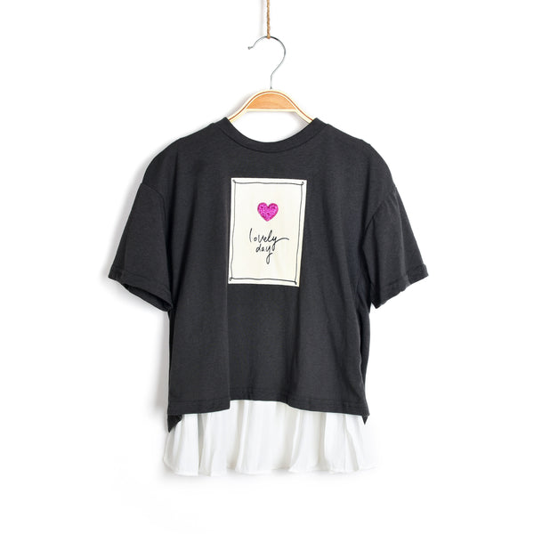 Lovely Day Short Sleeve Top- Grey
