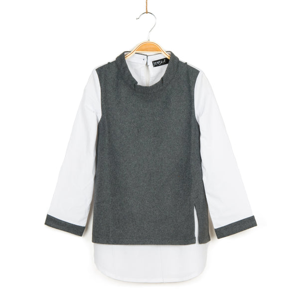 Cuffed 2fer Tunic - Grey