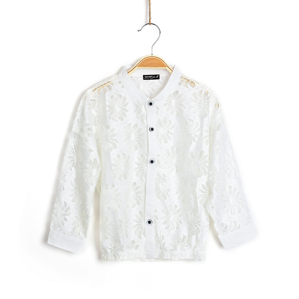 Dahlia Lace Pullover Bomber- White