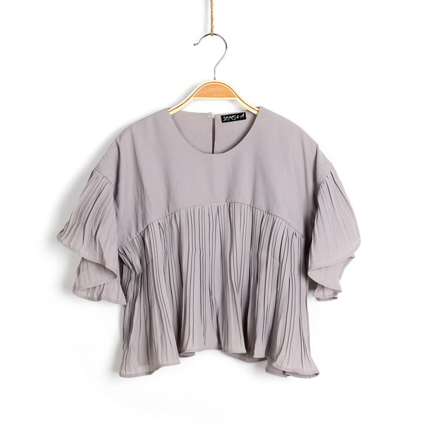 Loving Those Pleats Top- Grey