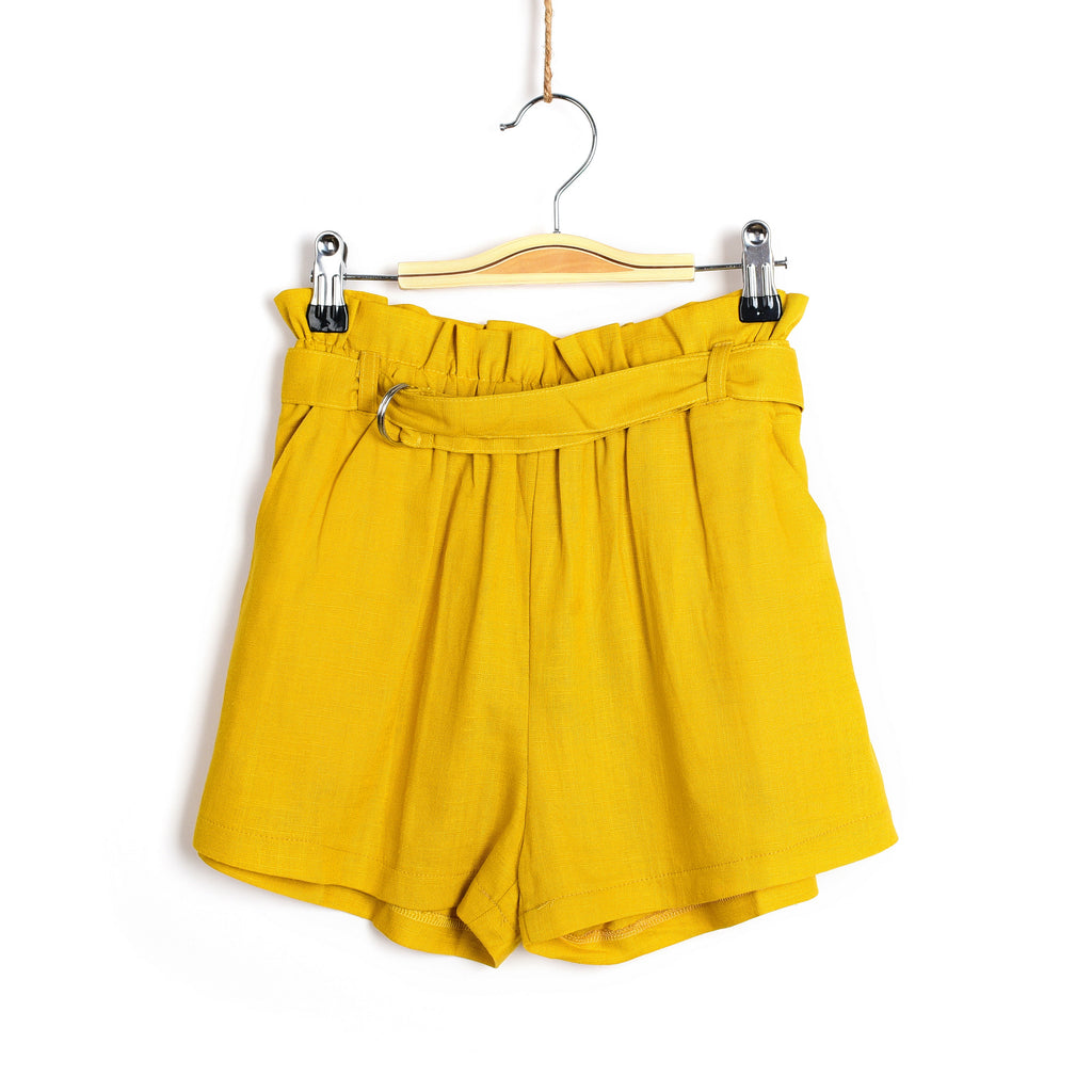 Ruffled Tie Waist Shorts- Yellow