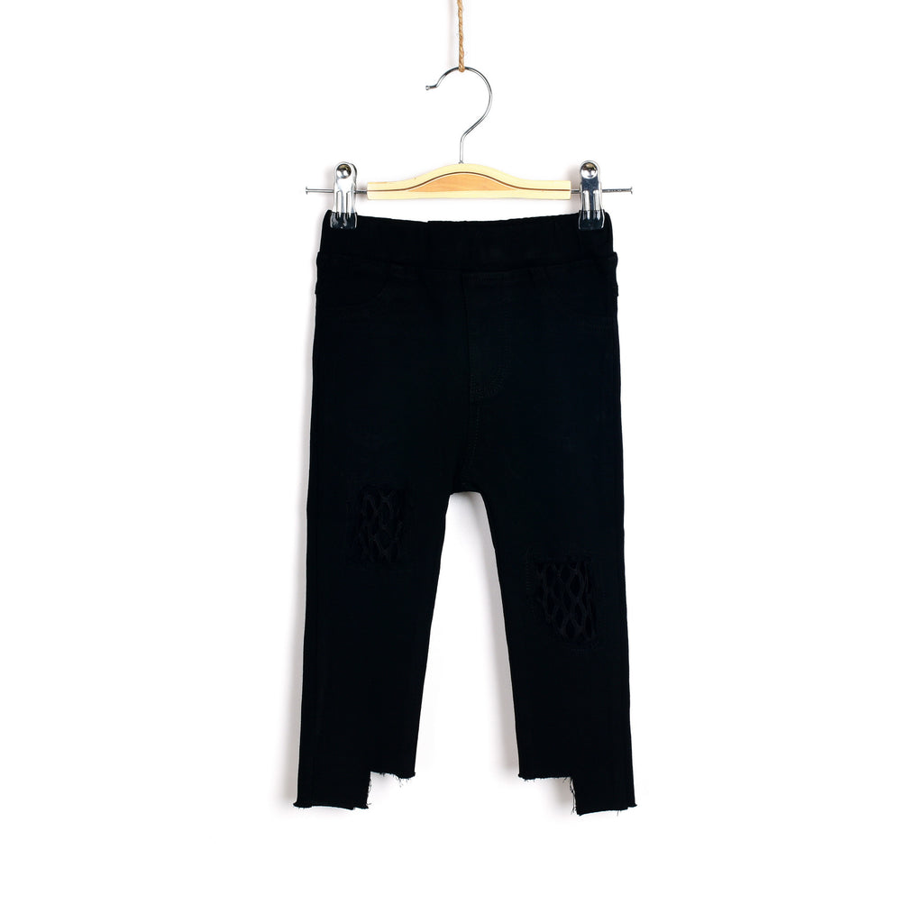 Meshy Knees Jeans - Black