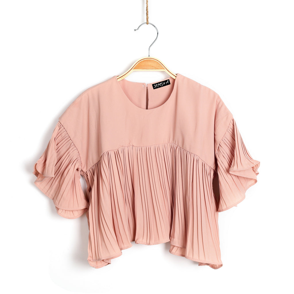 Loving Those Pleats Top- Blush