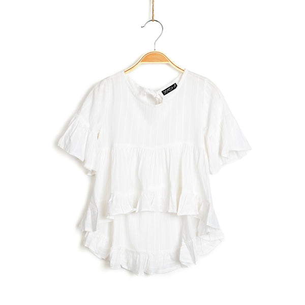 Frills and Me Tunic - White