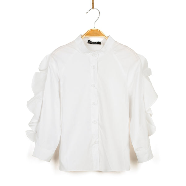 Trendy Girl Ruffled Top - White