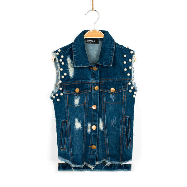 Run the World Pearl Embellished Denim Vest