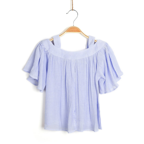 Island Vibez Cold Shoulder Top- Breezy Blue