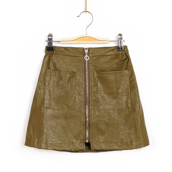 Zoey Leather Skirt - Olive
