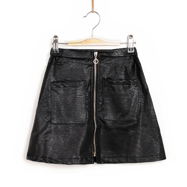 Zoey Leather Skirt - Black