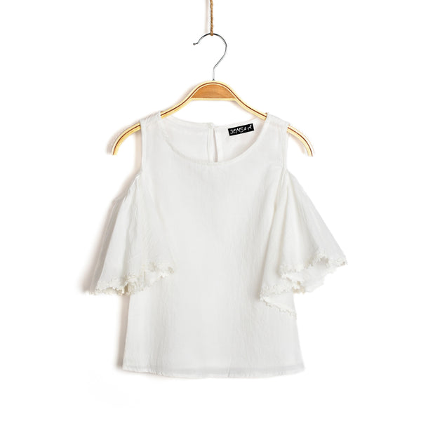Eva Cold Shoulder Top- White