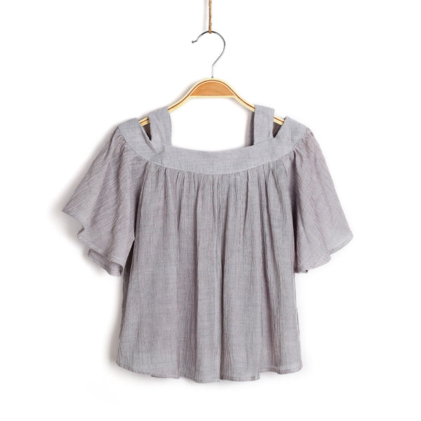Island Vibez Cold Shoulder Top- Grey