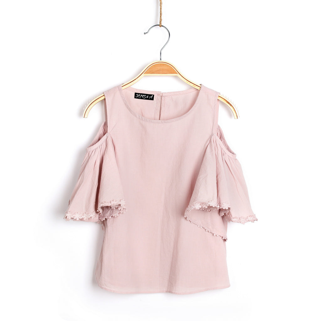 Eva Cold Shoulder Top - Blush Pink