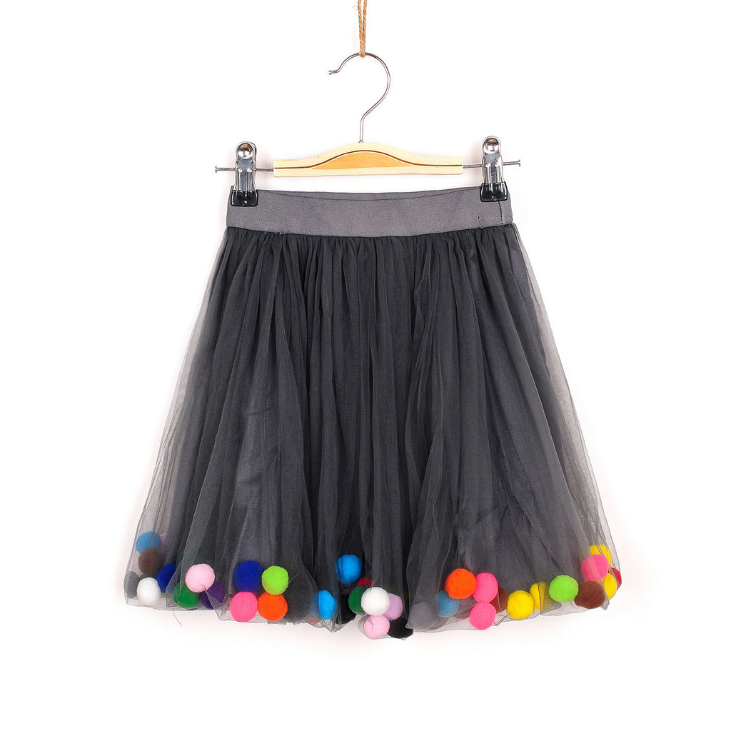 Pretty Pom Pom Skirt - Grey