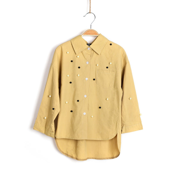 Girls Wear Pearls Blouse - Tan