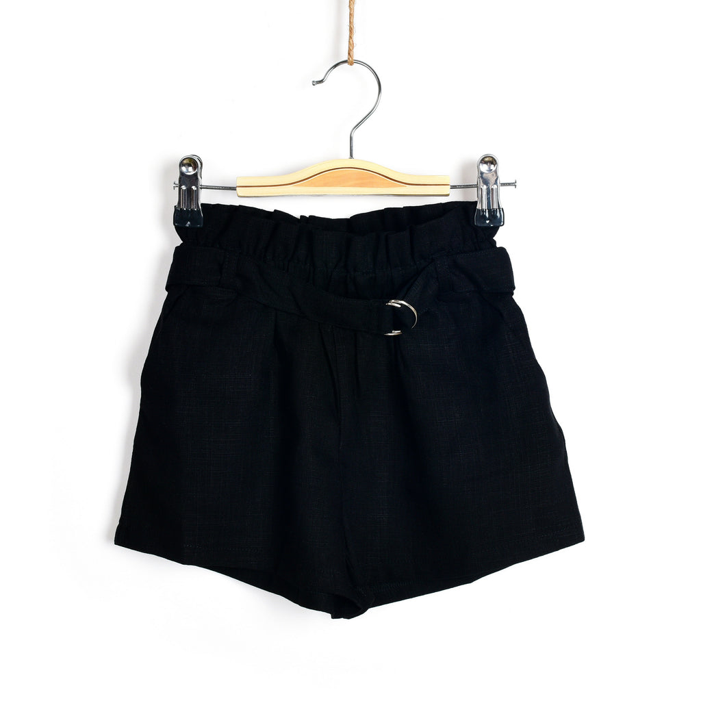 Ruffled Tie Waist Shorts- Black