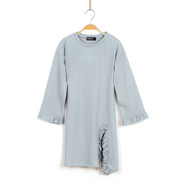 Lola Ruffled Knit Tunic - Powder Blue
