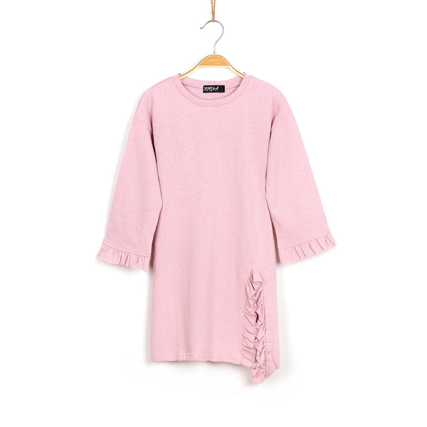 Lola Ruffled Knit Tunic - Blush Pink