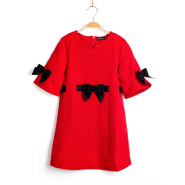 Obsessed With Bows Dress- Red