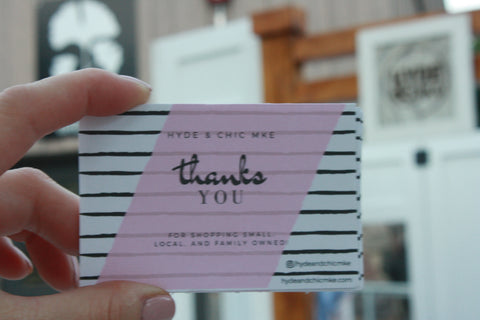 Thank you cards for customers.