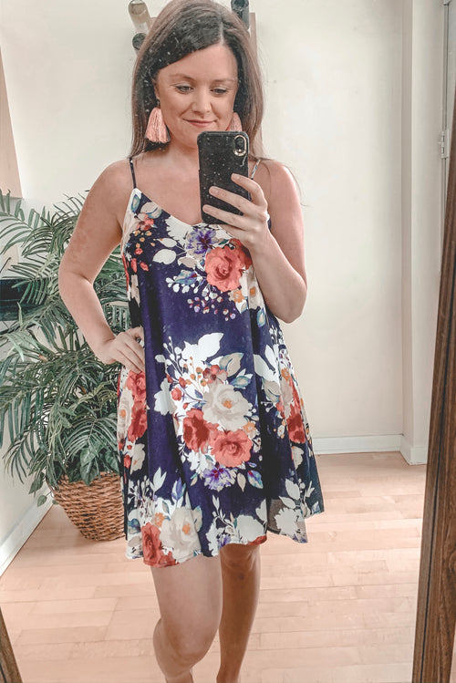Becker Floral Dress - Navy