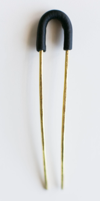 CA Makes Hair Pins with Hand Stitched Black Leather