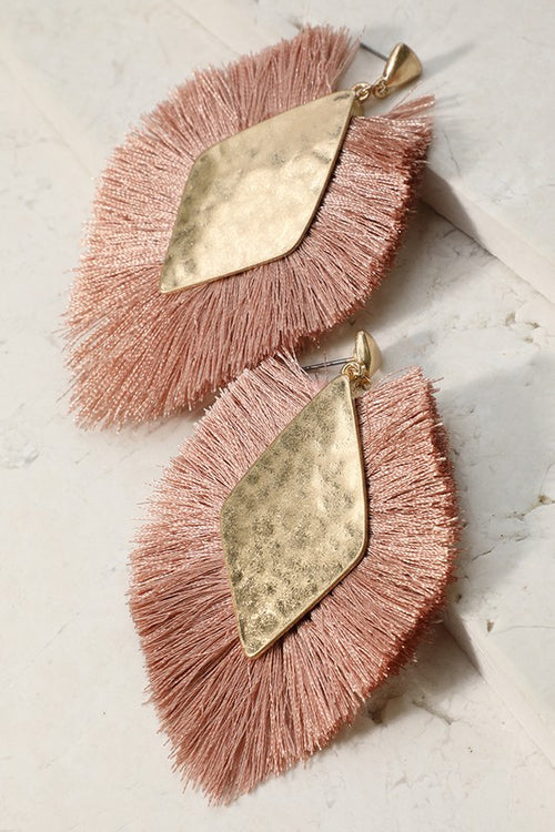 Hammered Metal Fringe Earrings - Dusty Pink