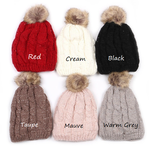 Beanie :: sequin accent :: fur lined :: with pom