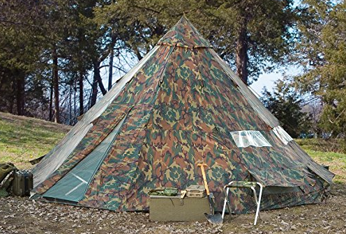 Large Woodland Camo Teepee Tent by HQ Issue - 12 Person