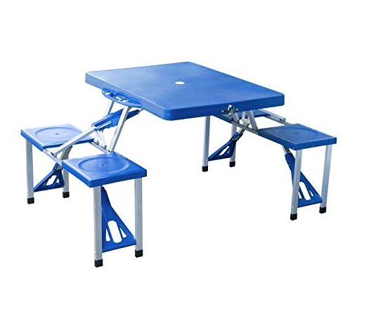 Foldable Picnic Table for Camping by Outsunny - Fits in Suitcase - 4 Seats