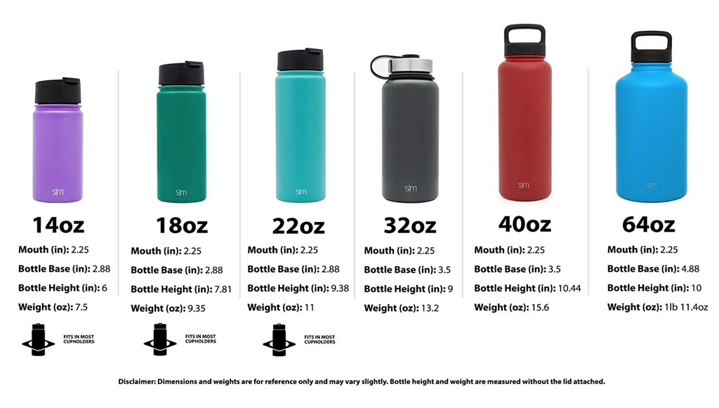 Stainless Steel Water Bottle By Simple Modern 6 Sizes