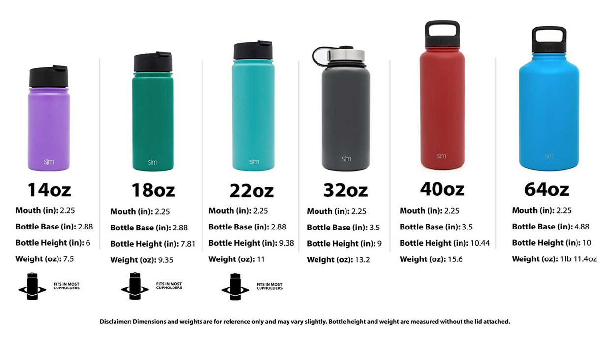 Stainless Steel Water Bottle by Simple Modern - 6 Sizes, 22 Colors