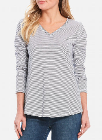 Eileen Fisher V-Neck Striped Organic Cotton L/S Tee