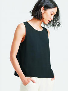 Eileen Fisher System Silk Crepe Round Neck Shell - Black or Bone