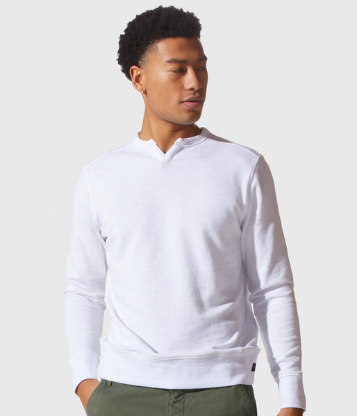 Good Man Brand White Marl French Terry Victory V-Notch Sweatshirt - White