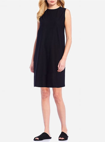 Eileen Fisher Washable Stretch Crepe Round Neck Dress - Black