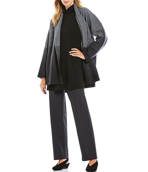 Eileen Fisher Shawl Collar Kimono Jacket in Ombre Boiled Wool Ash/Black