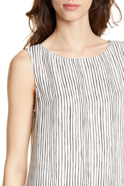 Eileen Fisher Linear Printed Silk Crepe Long Shell
