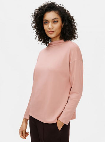 Eileen Fisher Funnel Neck Box Top in Blush