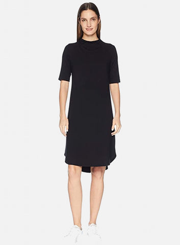 Eileen Fisher Drape Neck Elbow Sleeve Knee Length Dress - Black