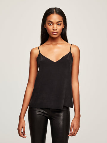 L'AGENCE Jane Spaghetti Strap Top in Solid Black