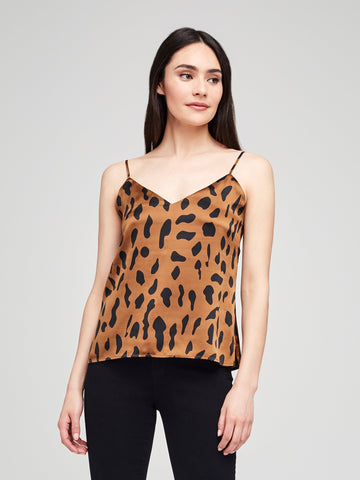 L'AGENCE Jane Spaghetti Strap Top in Camel/Black Animal
