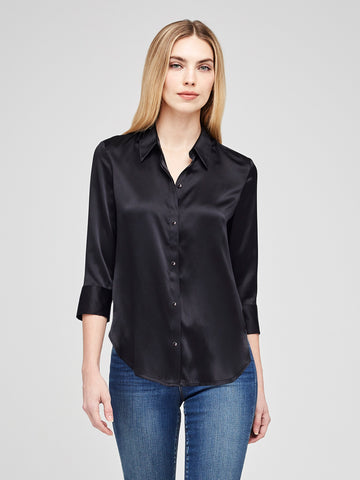 L'AGENCE Dani 3/4 sleeve silk blouse in black