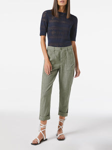 FRAME Le Beau Linen Pant in Military
